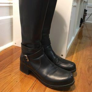 Black Prada moto knee high boot. Size 39